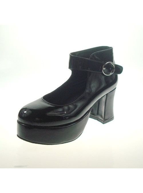 """Black 2.9"""" Heel High Lovely Patent Leather Point Toe Ankle Straps Platform Women Lolita Shoes"""