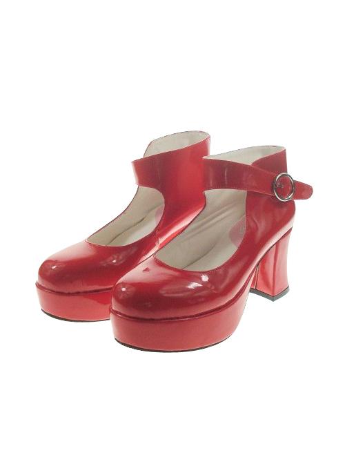 """Red 2.9"""" Heel High Beautiful Synthetic Leather Point Toe Ankle Straps Platform Women Lolita Shoes"""