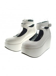 "White 3.1"" Heel High Gorgeous Polyurethane Point Toe Ankle Straps Platform Women Lolita Shoes"