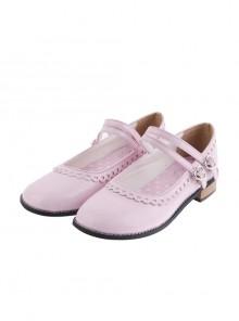 "Pink 1.0"" Heel High Beautiful Patent Leather Point Toe Cross Straps Platform Women Lolita Shoes"