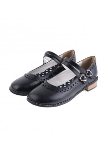 "Black 1.0"" Heel High Romatic Synthetic Leather Point Toe Cross Straps Platform Women Lolita Shoes"