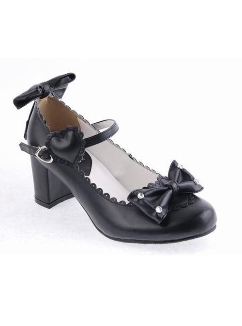 "Black 2.6"" Heel High Beautiful Patent Leather Point Toe Bow Platform Women Lolita Shoes"