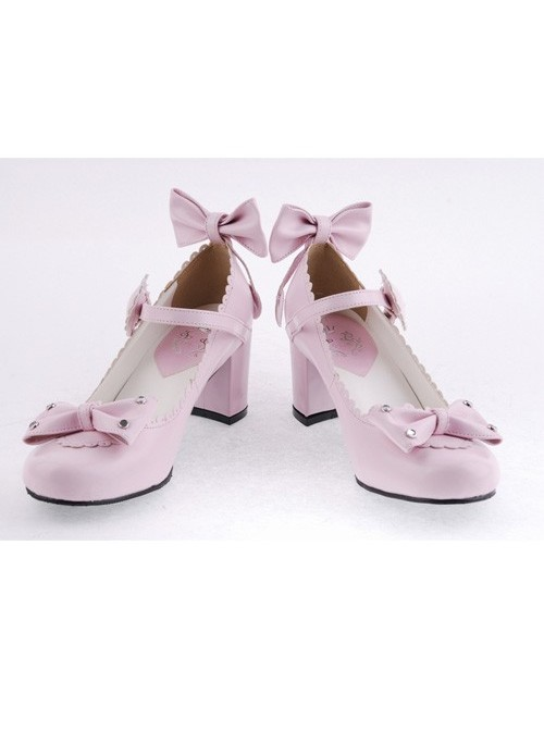 "Pink 2.6"" Heel High Beautiful Patent Leather Point Toe Bow Platform Women Lolita Shoes"