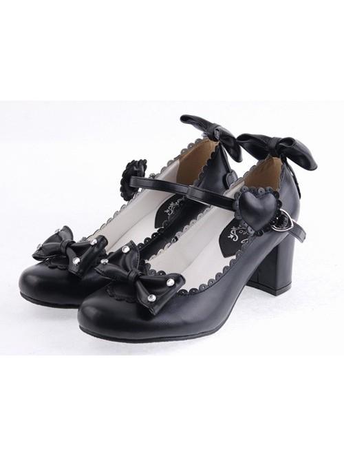 "Black 2.6"" Heel High Gorgeous Patent Leather Point Toe Bowknot Platform Women Lolita Shoes"