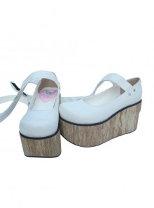 "White 3.7"" Heel High Classic Synthetic Leather Round Toe Ankle Straps Platform Women Lolita Shoes"