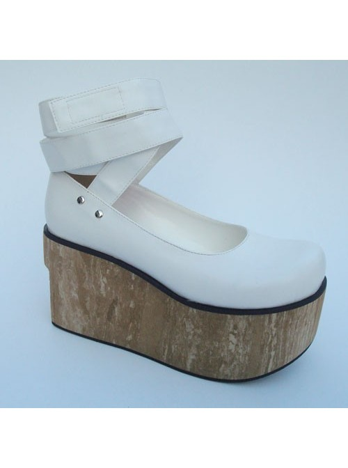 """White 3.7"""" Heel High Classic Synthetic Leather Round Toe Ankle Straps Platform Women Lolita Shoes"""