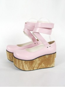 "Pink 3.7"" Heel High Beautiful PU Round Toe Ankle Straps Platform Women Lolita Shoes"