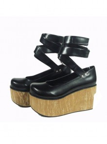 "Black 3.7"" Heel High Cute Polyurethane Round Toe Ankle Straps Platform Women Lolita Shoes"