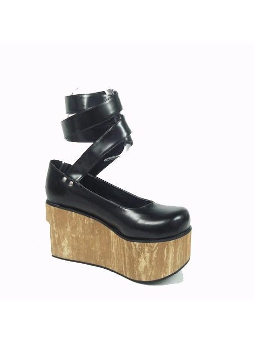 "Black 3.7"" Heel High Cute Polyurethane Round Toe Ankle Straps Platform Women Lolita Shoes"