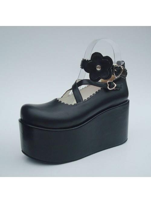 "Black 3.9"" Heel High Special PU Round Toe Criss Cross Straps Platform Girls Lolita Shoes"