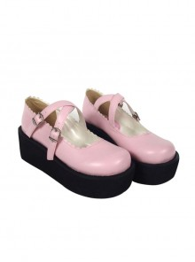 "Pink 2.6"" Heel High Classic Synthetic Leather Round Toe Cross Straps Platform Girls Lolita Shoes"