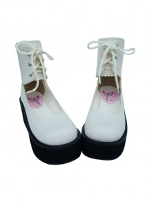 "White 2.6"" Heel High Gorgeous Polyurethane Round Toe Cross Straps Platform Girls Lolita Shoes"