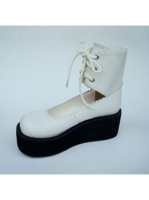 "White 2.6"" Heel High Gorgeous Polyurethane Round Toe Cross Straps Platform Girls Lolita Shoes"