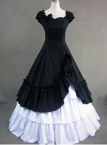 Classic Cotton Short Sleeves Ruffle Lolita Dress