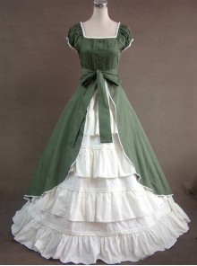 Green & White Puff Sleeve Open front Splitting Multi-layer Cotton Satin Classic Lolita Dress