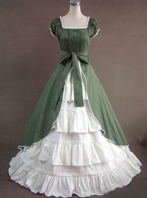 Green & White Puff Sleeve Open front Splitting Multi-layer Cotton Satin Classic Lolita Dress