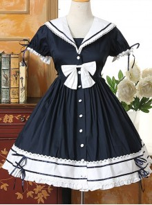 Navy Collar Cotton Short Sleeve Classic Lolita Dress