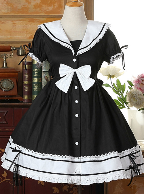 Navy Collar Cotton Short Sleeve Classic Lolita Dress
