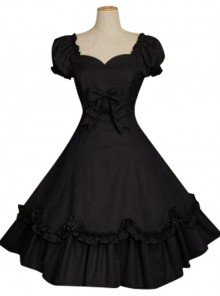 Bow Cotton Short Sleeves Classic Lolita Dress