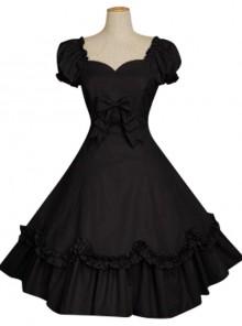 Bow Cotton Short Sleeves Classic Lolita Dress