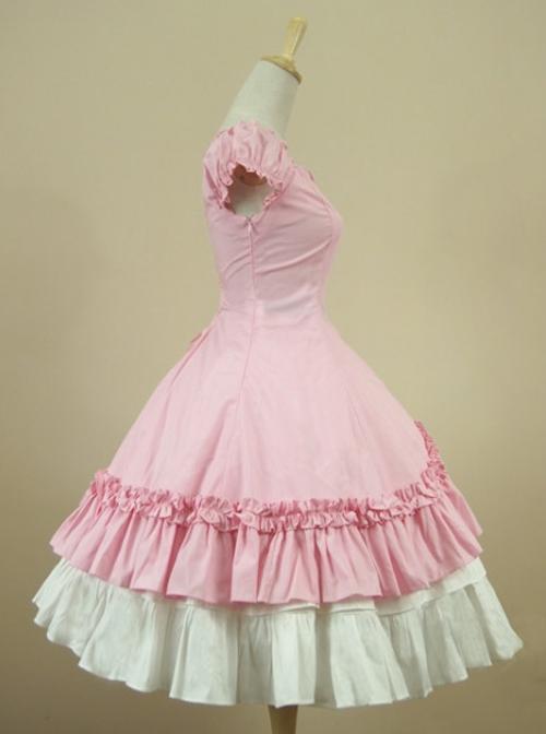 Cotton Short Sleeves Ruffle Classic Lolita Dress