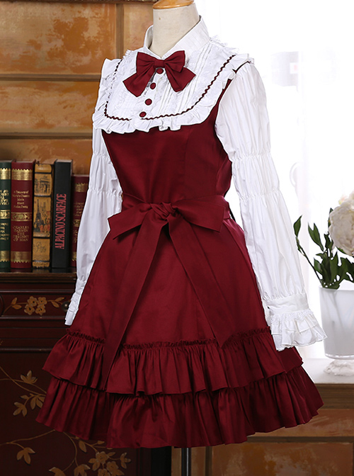 Classic Cotton Long Sleeves Ruffle Lolita Dress