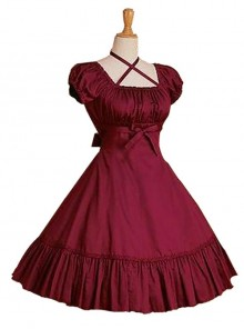 Cotton Ruffles Short Sleeve Bow Classic Lolita Dress