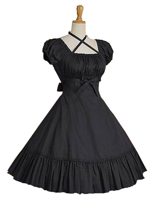 Cotton Ruffles Short Sleeve Bow Classic Lolita Dress