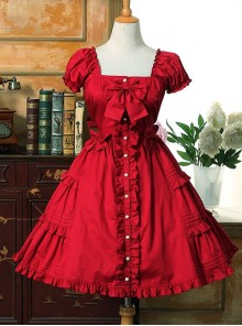 Bow Cotton Flounced Short Sleeve Lolita Dress