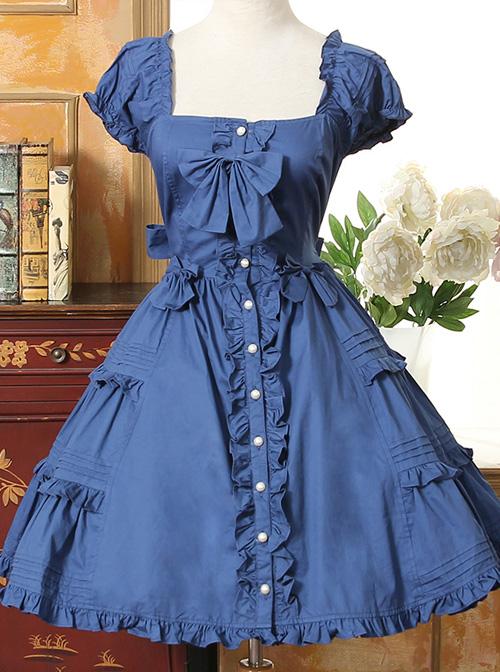 Bow Cotton Flounced Short Sleeve Lolita Dress