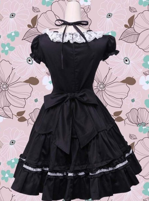 Puff Short Sleeves Bow Lace Classic Lolita Dress