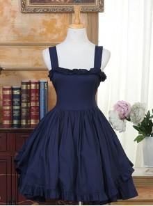 Ruffles Bind Strap Classic Lolita Sleeveless Dress