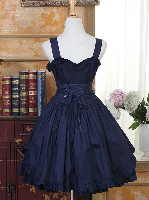 Ruffles Bind Strap Classic Lolita Sleeveless Dress