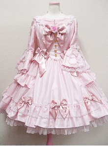 Long Sleeve Bow Lace Ruffles Classic Lolita Dress