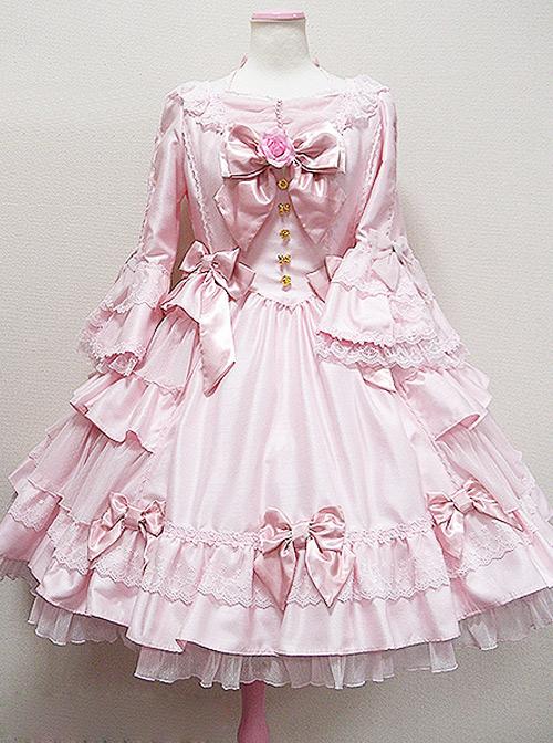 Long Sleeve Bow Lace Ruffles Classic Lolita Dress