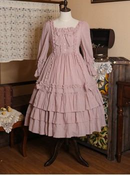 Bowknot High Waist Pure Color Classic Lolita Half Sleeve Dress