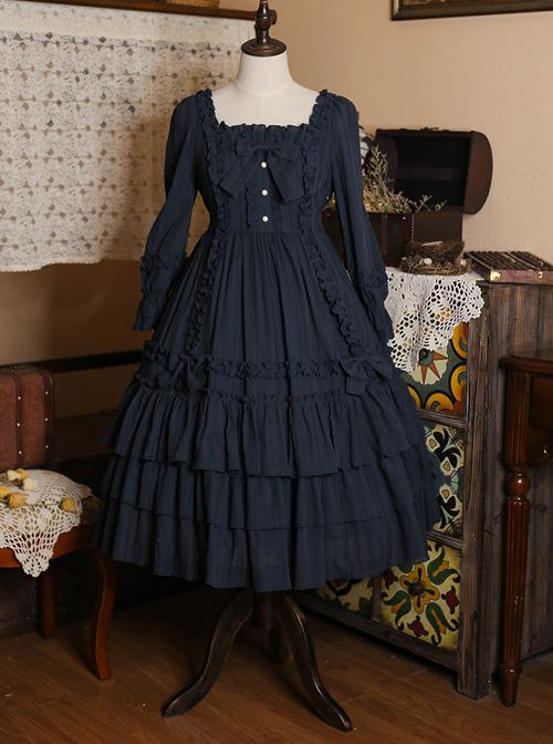 Bowknot High Waist Pure Color Classic Lolita Half Sleeve Dress