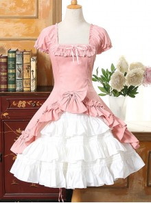 Short Sleeves Ruffle Bowknot Classic Lolita Dress