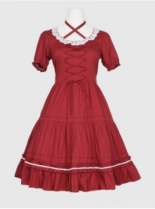 Round Neckline Ruffle Lace Classic Lolita Puff Short Sleeves Dress