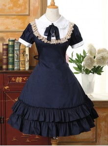 Doll Collar Flounced Classic Lolita Short Sleeves Dress