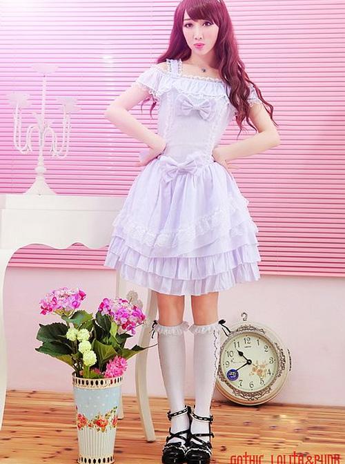 Bowknot Classic Lolita Off-the-shoulder Dress