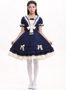 Navy Blue Bowknot Sweet Lolita Short Sleeve Dress