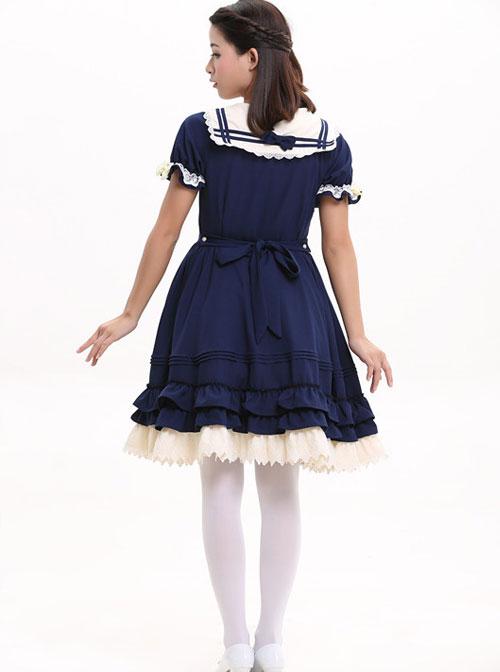 Navy Blue Bowknot Sweet Lolita Short Sleeve Dress