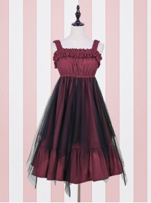 High Waist flounce Gothic Lolita Sling Dress