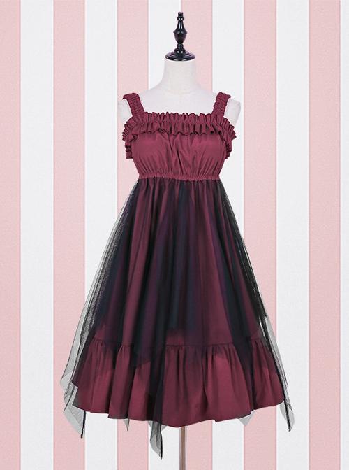 High Waist flounce Gothic Lolita Sling Dress