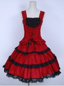 Red Corduroy Gothic Lolita Sling Dress