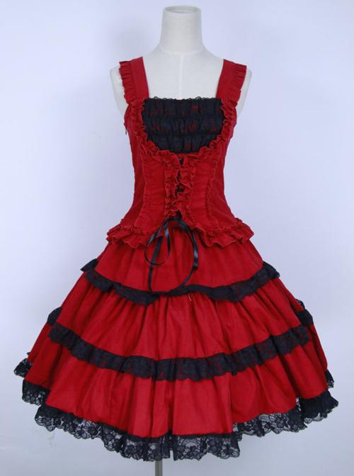 Red Corduroy Gothic Lolita Sling Dress