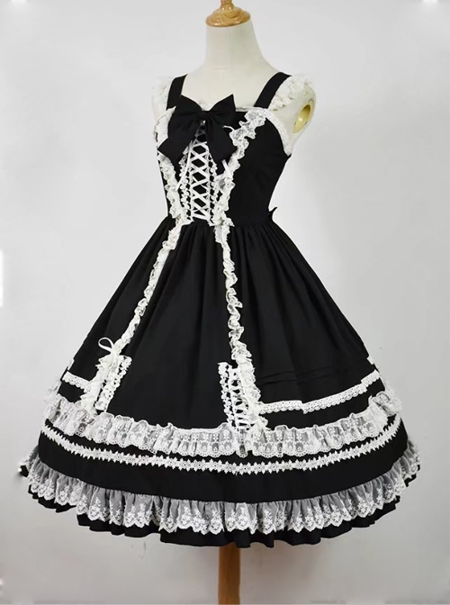 Black and White Sleeveless Lace Bow Classic Lolita Dress