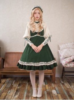 Dark Green High Waist Classic Lolita Sling Dress