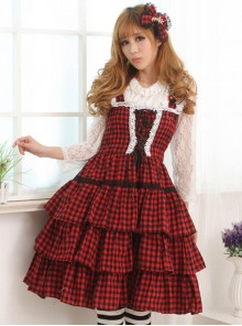 Red And Black Plaid Classic Lolita Sleeveless Dress